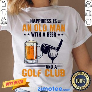 Annoyed Is An Old Man With A Beer And A Golf Club 2 Ladies Tee