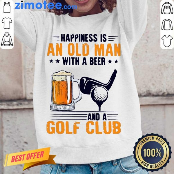 Annoyed Is An Old Man With A Beer And A Golf Club 2 Long-Sleeved