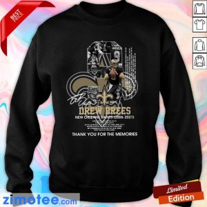 9 Drew Brees New Orleans Saints 2006 2021 Thank You For The Memories Signatures Sweater