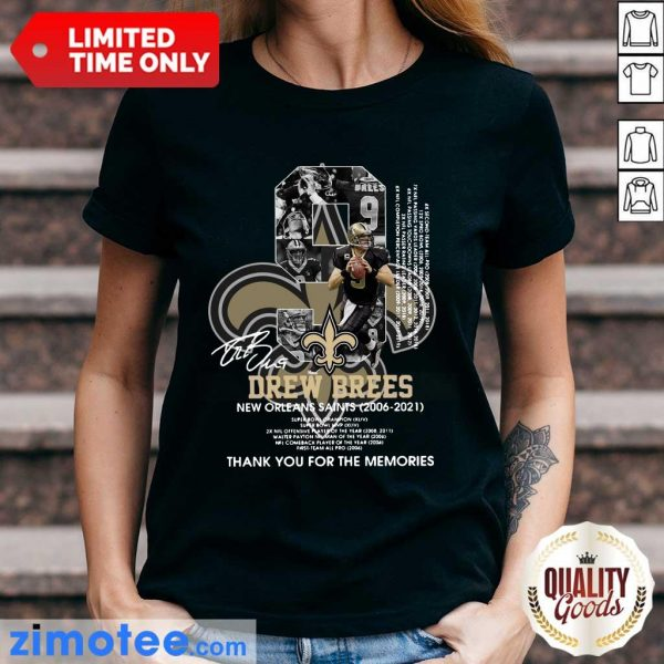 9 Drew Brees New Orleans Saints 2006 2021 Thank You For The Memories Signatures Ladies Tee