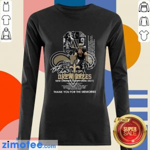 9 Drew Brees New Orleans Saints 2006 2021 Thank You For The Memories Signatures Long Sleeved