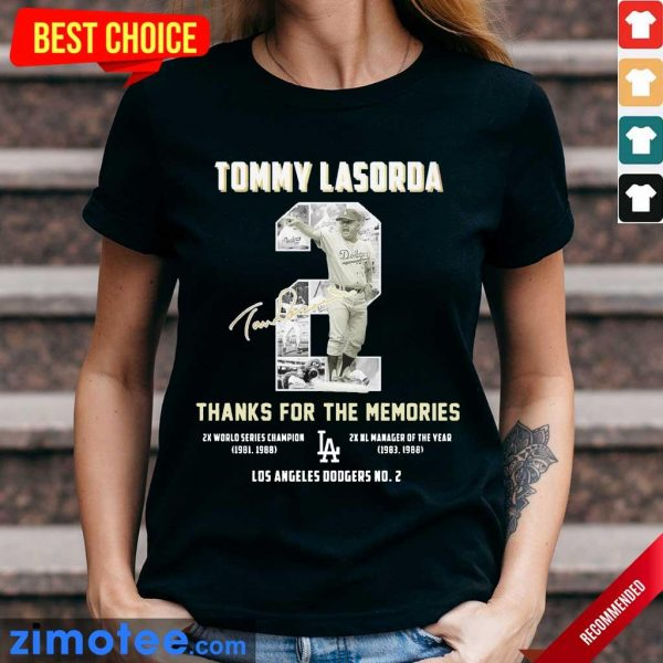 Intrigued Tommy Lasorda 2 Los Angeles Dodgers Ladies Tee