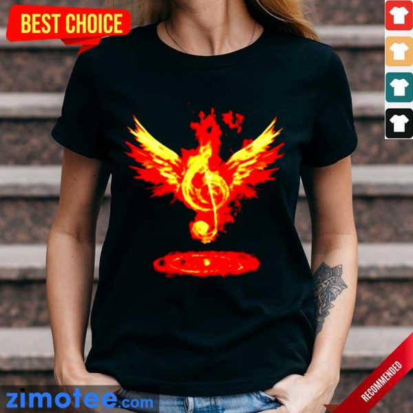 Jealous Music Note Fire Angel 8 Ladies Tee