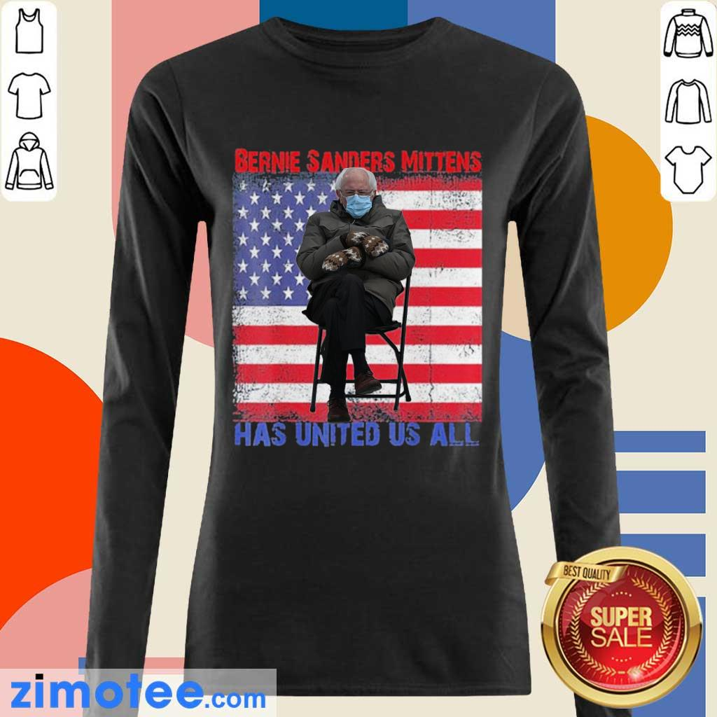 Bernie Sanders Mittens Sitting Inauguration USA Flag Long Sleeved