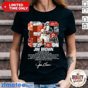 32 Jim Brown Running Back Cleveland Browns 1957 1965 Signature Ladies Tee