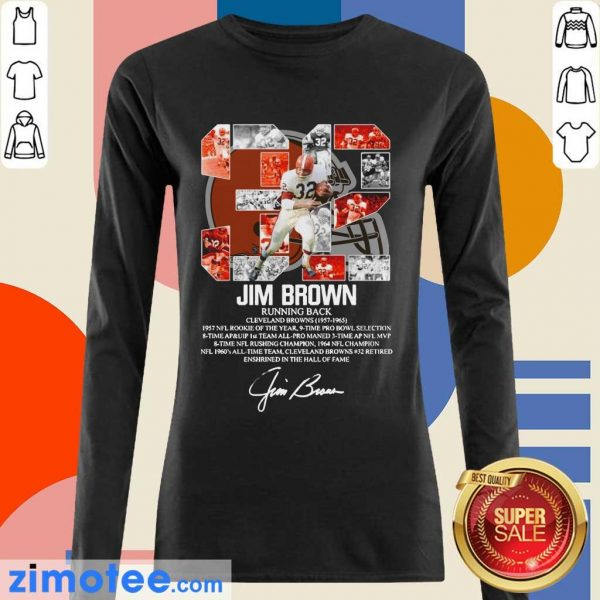 32 Jim Brown Running Back Cleveland Browns 1957 1965 Signature Long Sleeved