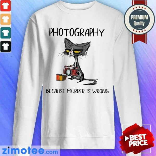 Hot Super 2023 Photography Murder Is Wrong Black Cat Sweater