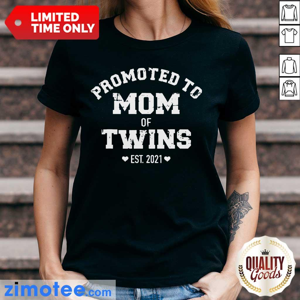 Official Promoted To Mom Of Twins Ladies Tee