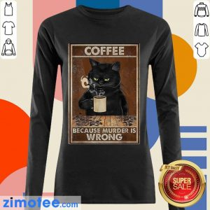 Pretty Black Cat Drink 6 Coffee Long-Sleeved
