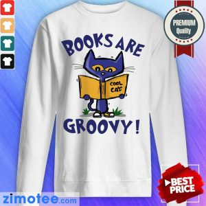 Books Are Readed Cool Cat Groovy Sweater