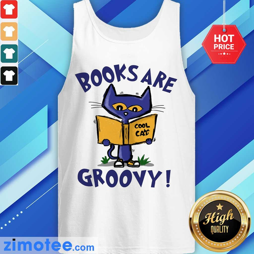 Books Are Readed Cool Cat Groovy Tank Top