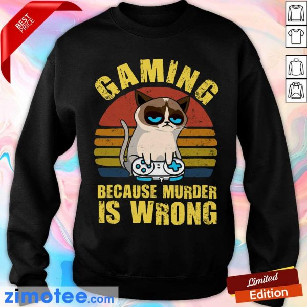 Gaming Murder Is Wrong Cat Vintage Sweater