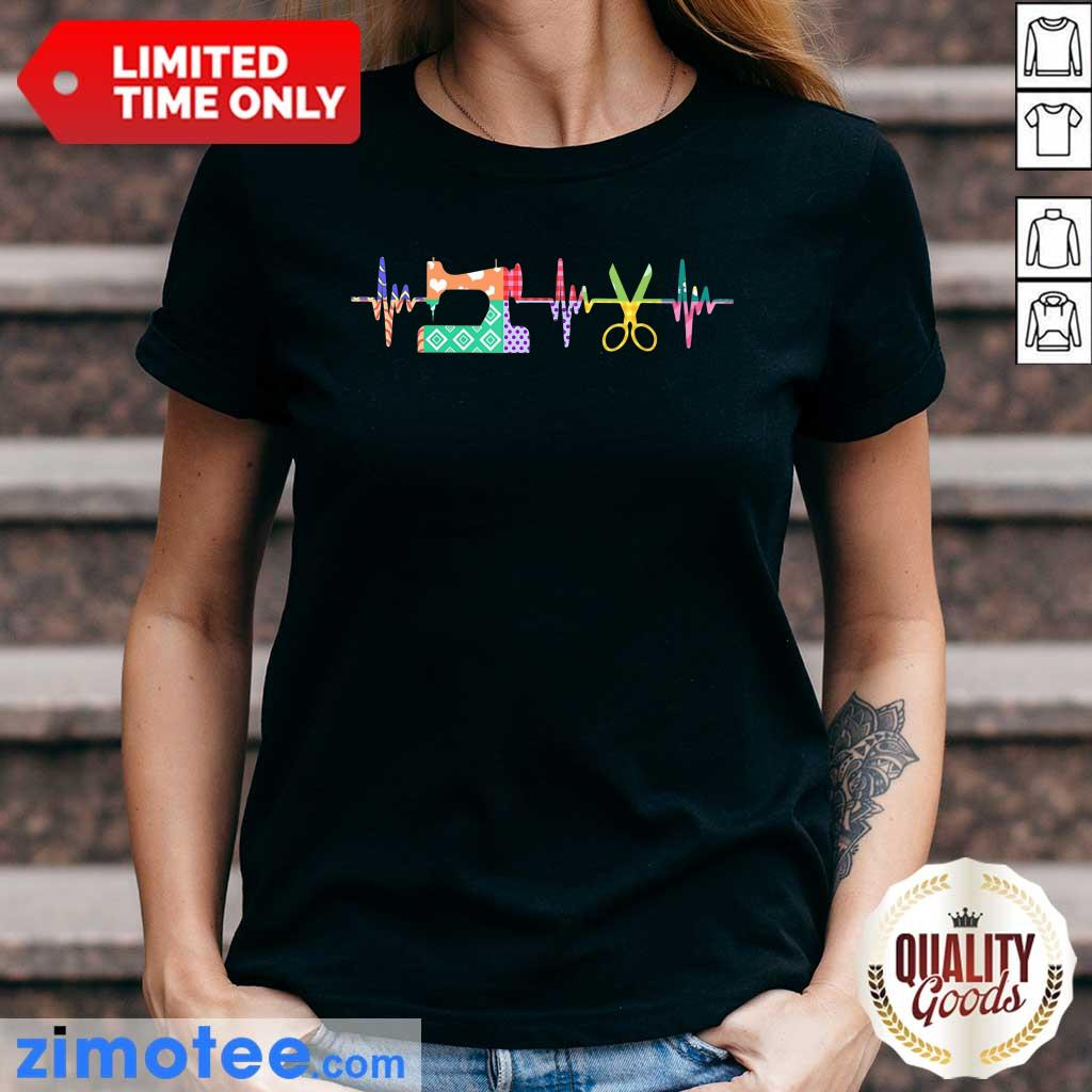 Nice Quilter Sewing Heartbeat Ladies Tee