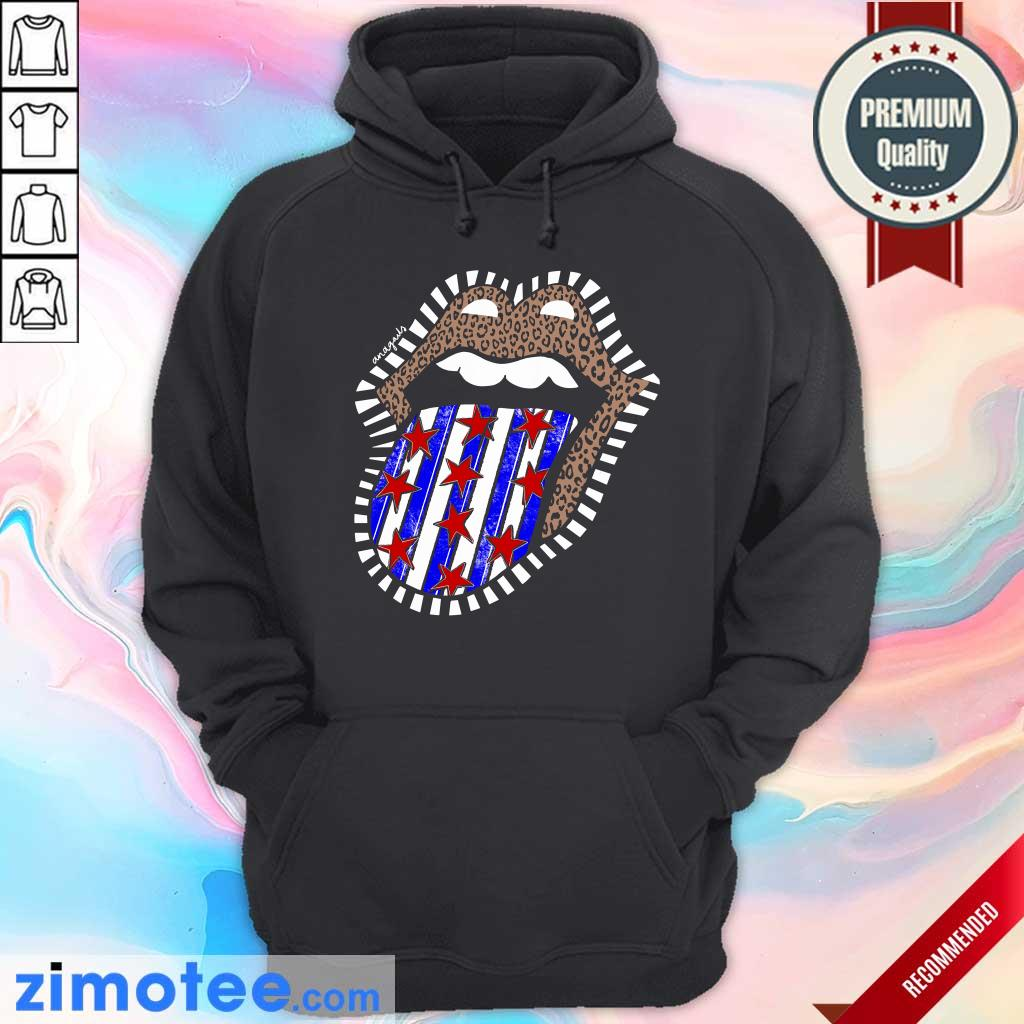 American Flag The Rolling Stone Lips Leopard Hoodie