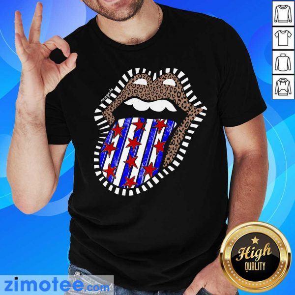 American Flag The Rolling Stone Lips Leopard Shirt