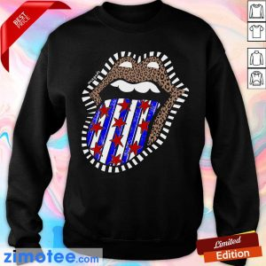 American Flag The Rolling Stone Lips Leopard Sweater
