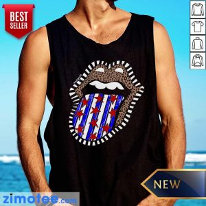 American Flag The Rolling Stone Lips Leopard Tank Top