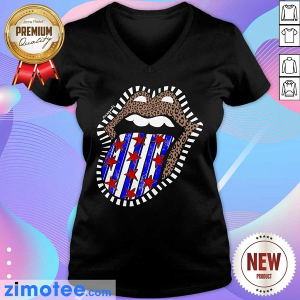 American Flag The Rolling Stone Lips Leopard V-neck