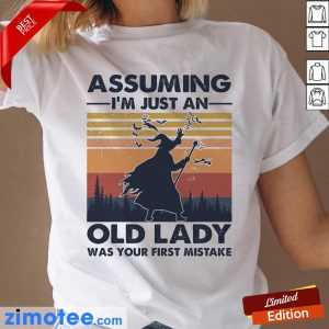 Assuming Just Old Lady Witch Vintage Ladies Tee