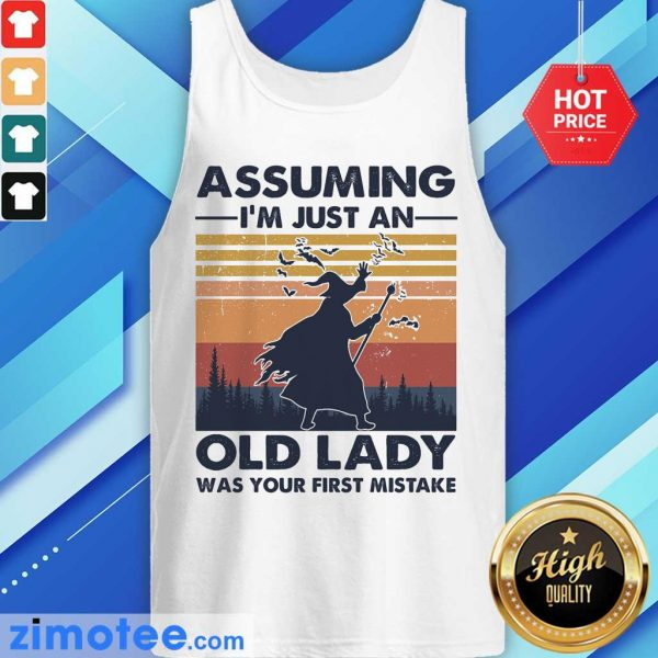 Assuming Just Old Lady Witch Vintage Tank Top