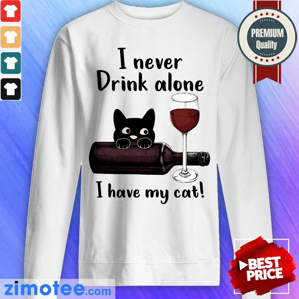 Black Cat I Never Drink Alone Red Wine I Have My Cat Sweater