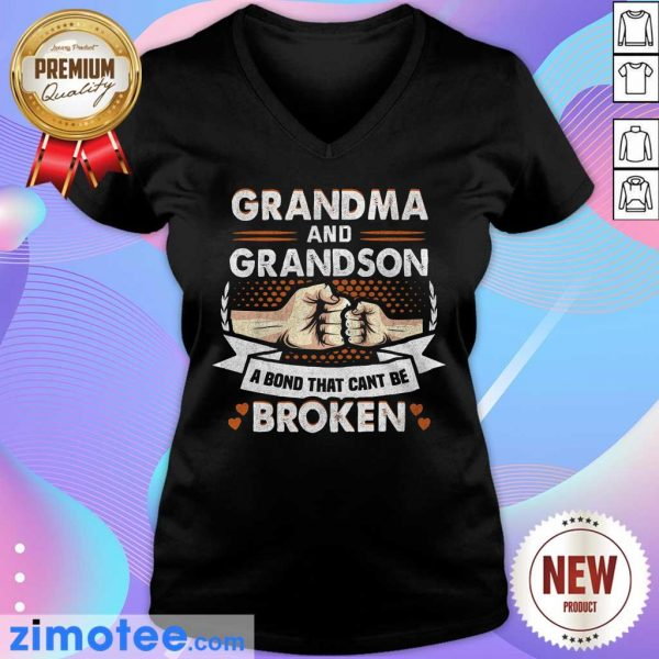 Grandma And Grandson A Bond That Can't Be Broken V-neck