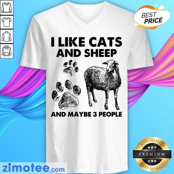 I Like Cats And Sheep Paw Dog And Maybe 3 People V-neck