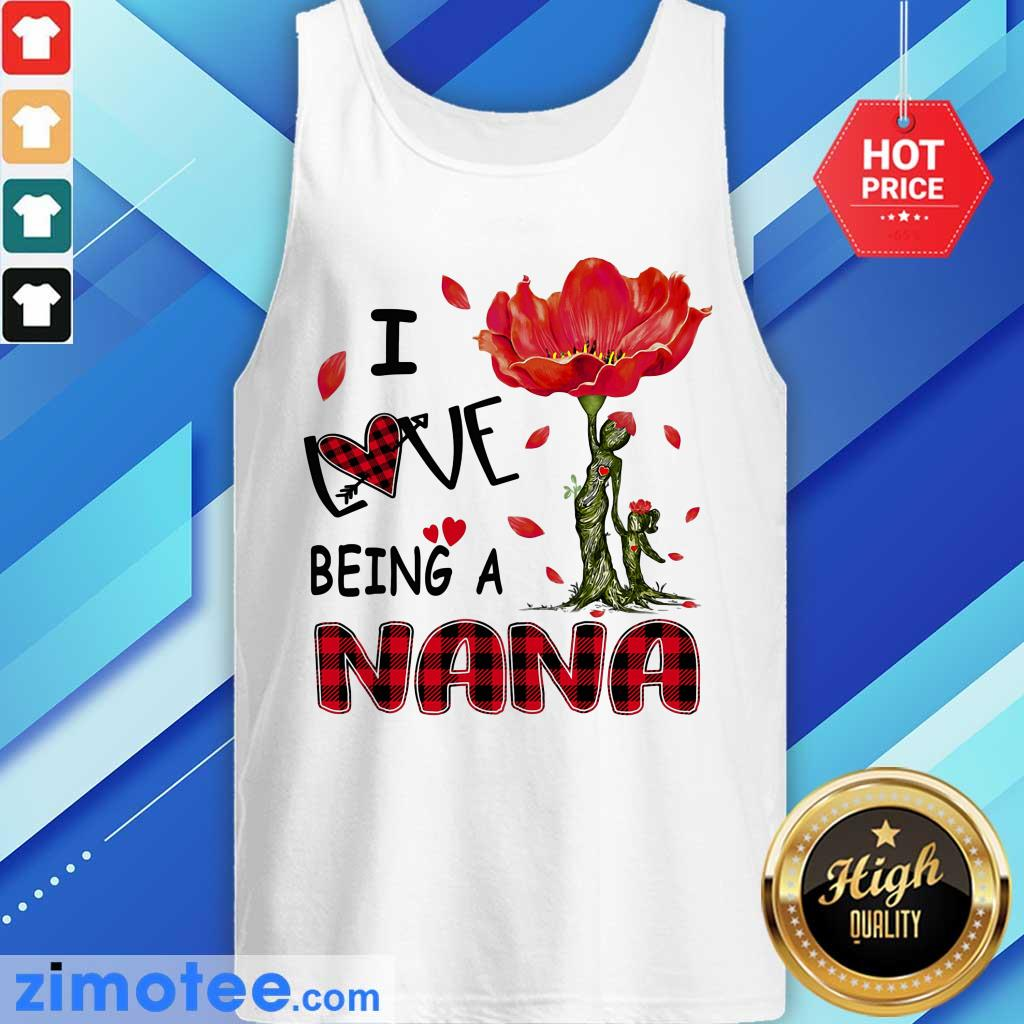 Love Being A Nana Red Flower Tank Top