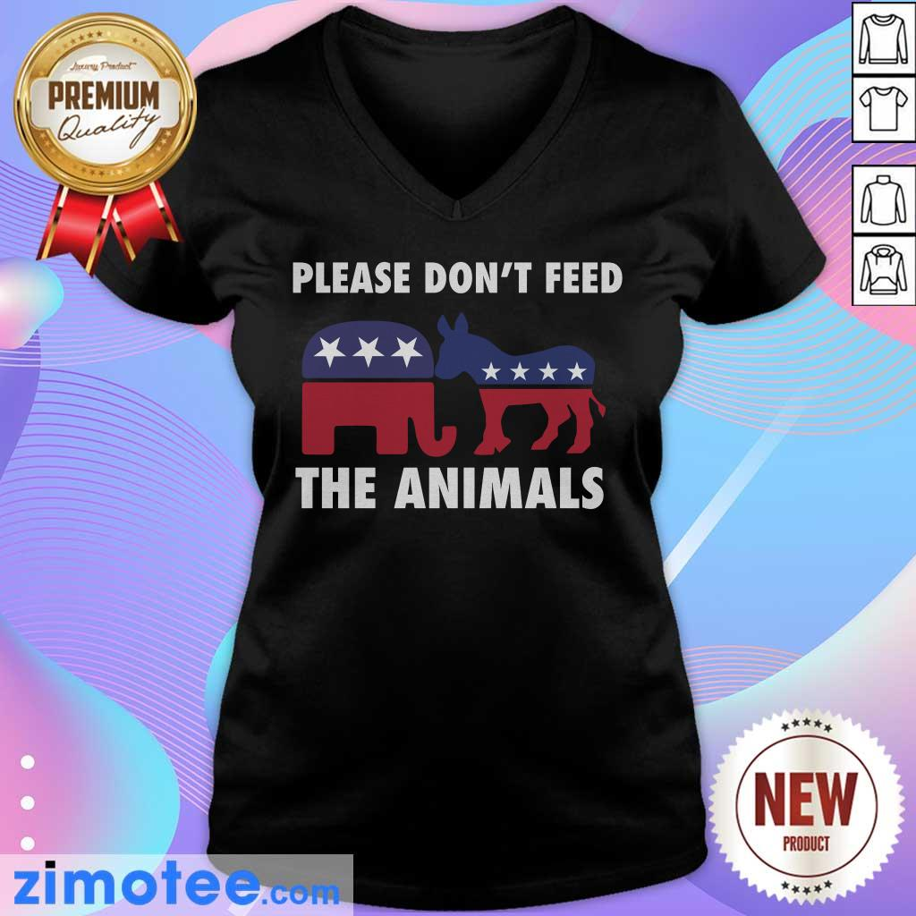 Please Don't Feed The Animals Libertarian V-neck