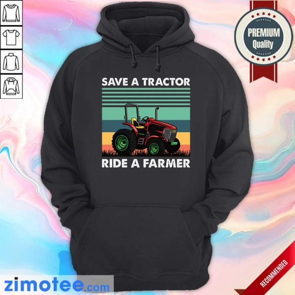 Save Tractor Ride A Farmer Vintage Hoodie