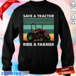 Save Tractor Ride A Farmer Vintage Sweater
