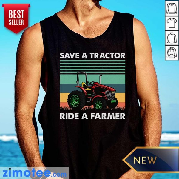 Save Tractor Ride A Farmer Vintage Tank Top