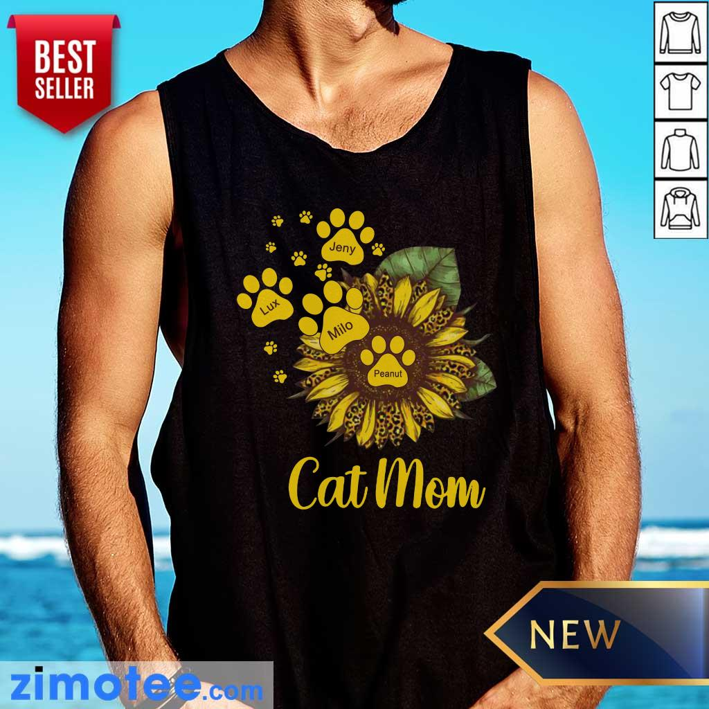 Sunflower Cat Mom Personalized Paw Dog Tank Top