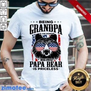Beer Being Grandpa Is An Honor Being Papa Bear Is Priceless USA Flag Shirt
