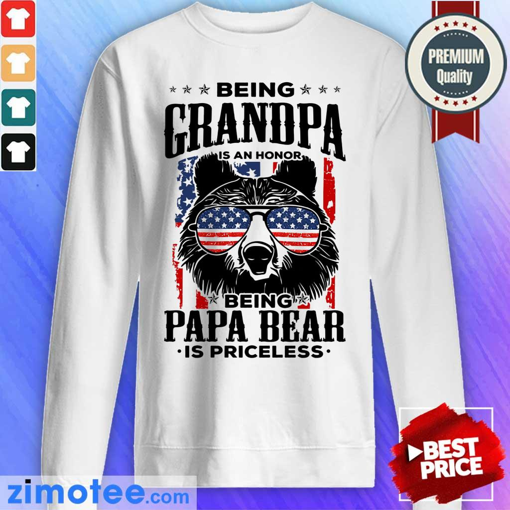 Beer Being Grandpa Is An Honor Being Papa Bear Is Priceless USA Flag Sweater