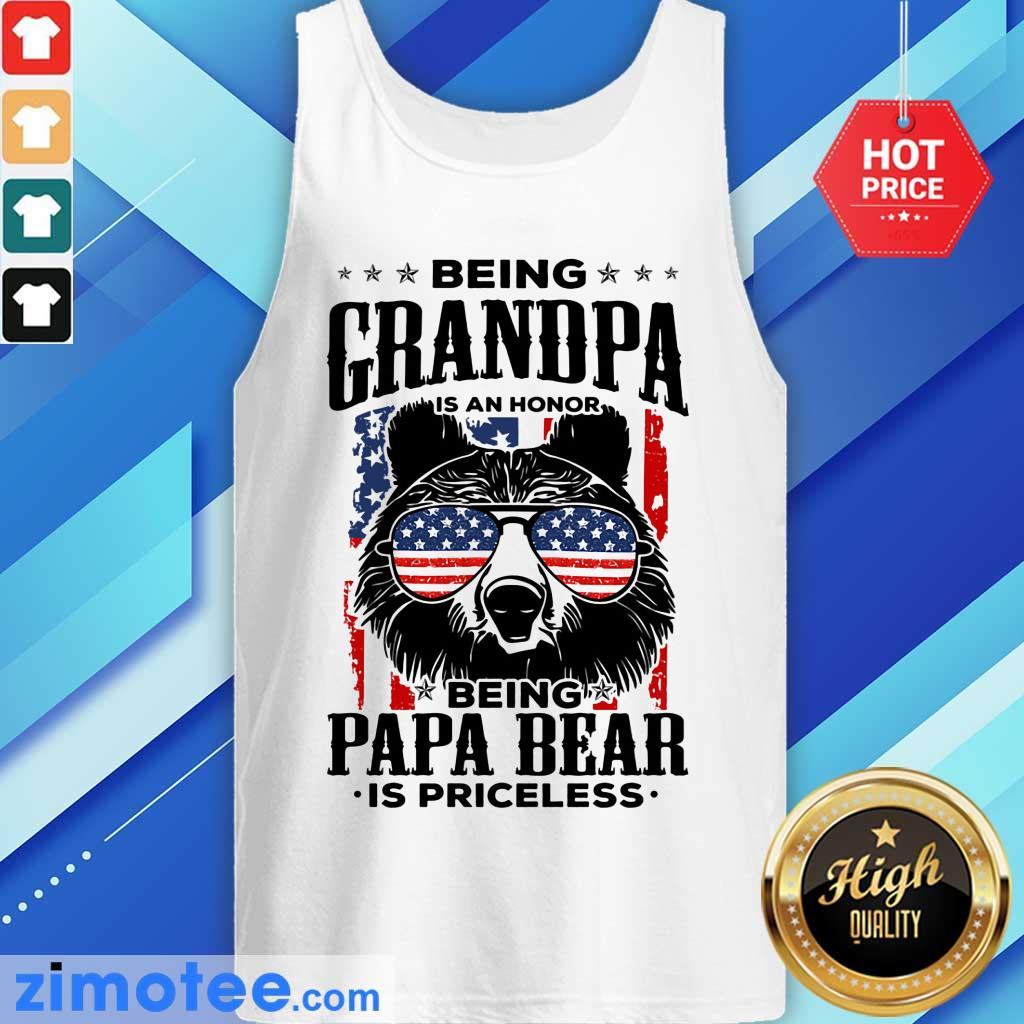 Beer Being Grandpa Is An Honor Being Papa Bear Is Priceless USA Flag Tank Top