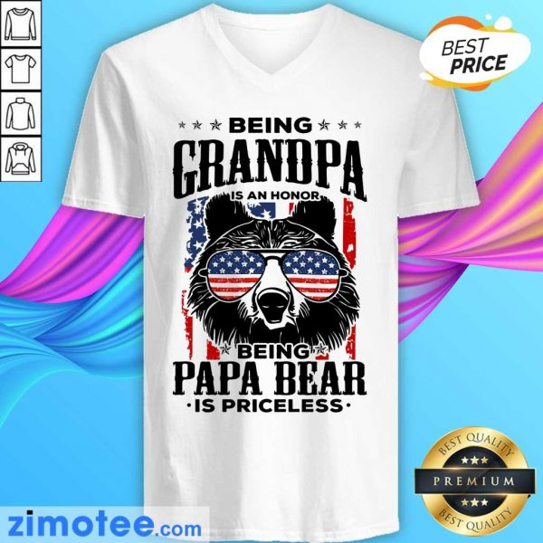 Beer Being Grandpa Is An Honor Being Papa Bear Is Priceless USA Flag V-neck