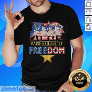 Raise A Glass To Freedom 4th Of July American Flag Shirt