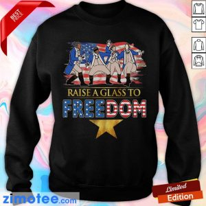 Raise A Glass To Freedom 4th Of July American Flag Sweater