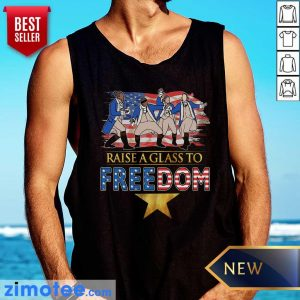 Raise A Glass To Freedom 4th Of July American Flag Tank Top