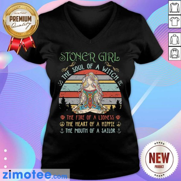 Stoner Girl The Soul Of A Witch The Fire Of A Lioness Vintage V-neck
