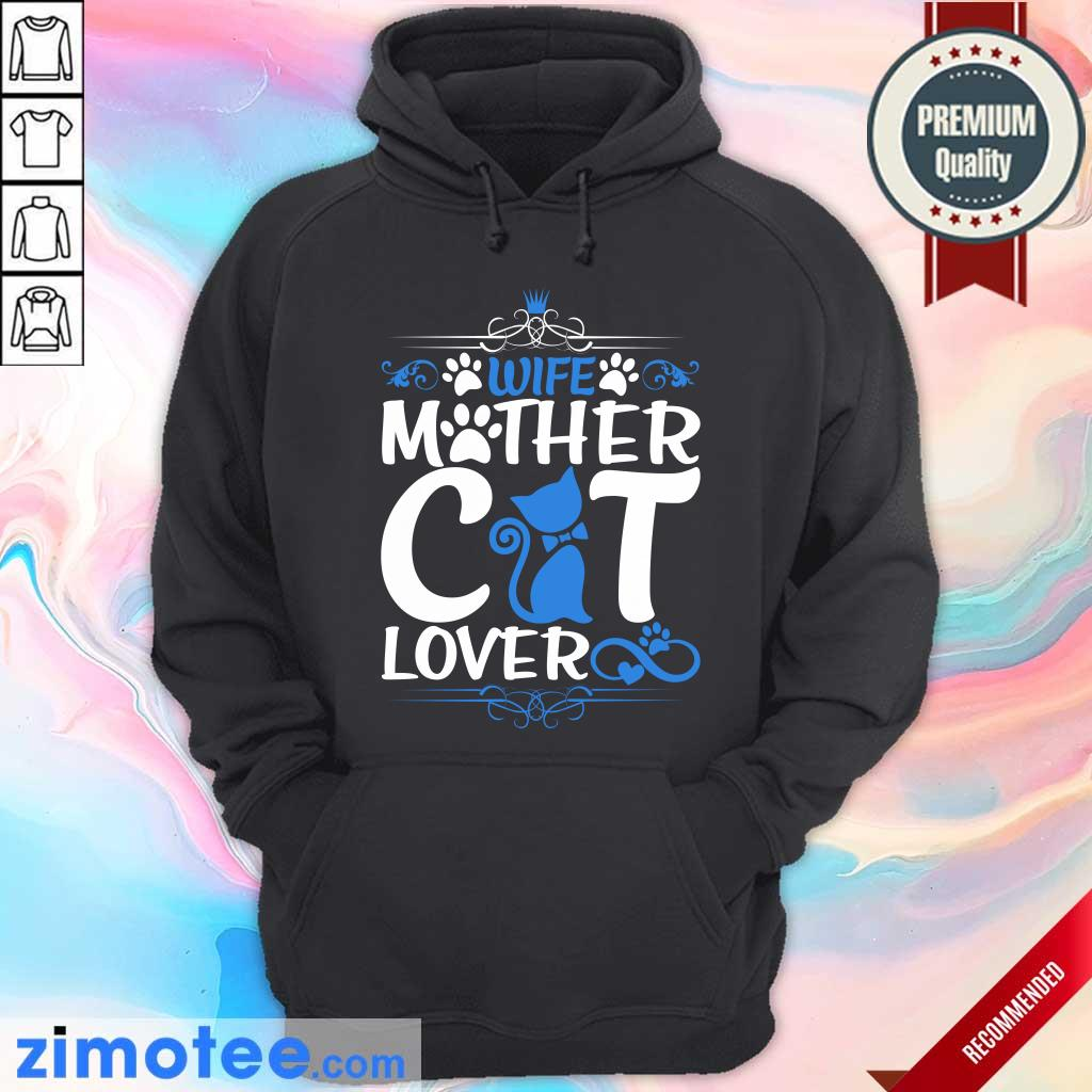 Wife Mother Cat Lover Paw Cat Hoodie