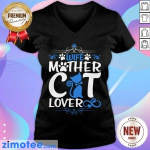 Wife Mother Cat Lover Paw Cat V-neck